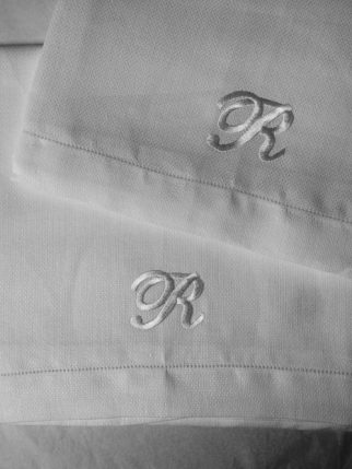 francis-m-irish-linen-estate-huckaback-monogram hand towel/Charis White Interiors blog