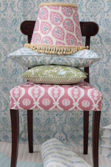 Cushions and lampshade on chair by Charlotte Gaisford/Charis White interiors blog