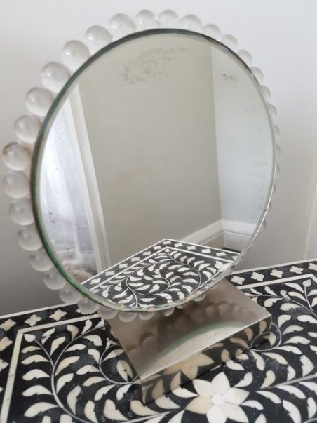 Art Deco circular dressing table mirror for sale on Vintage White at www.chariswhite.com