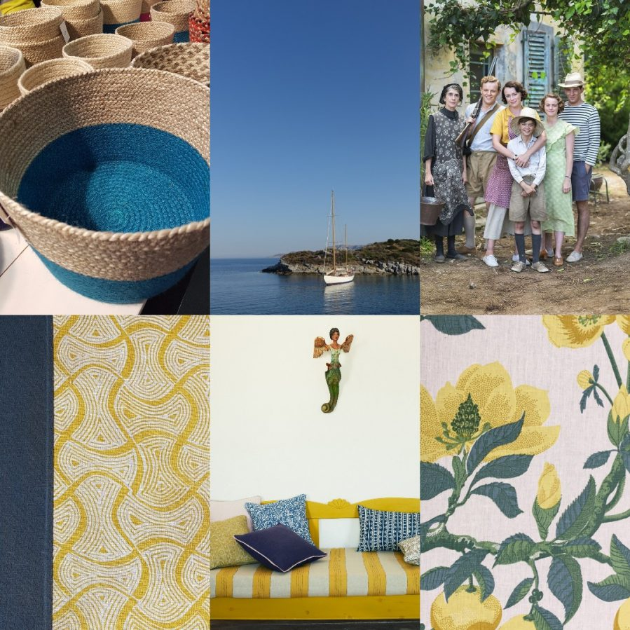 Collage of Mediterranean style including shot of The Durrells courtesy of ITV/Pinterest on Charis White interiors blog