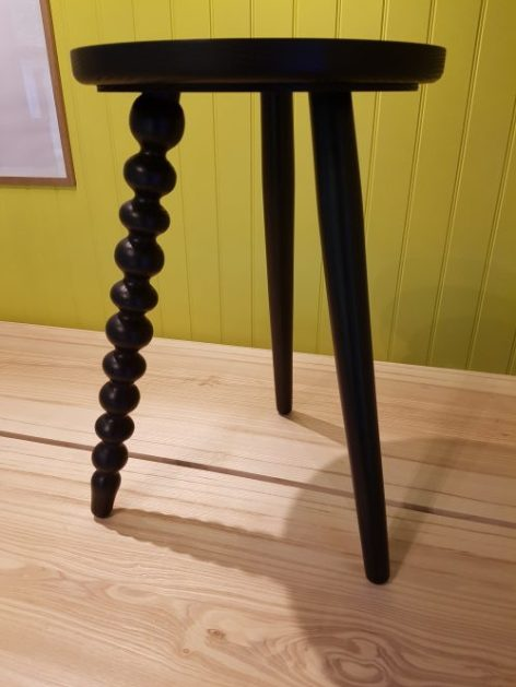 Black ash 'wobbly' design stool by Galvin Brothers at RHS Chelsea Flower Show 2018 on Charis White Interiors blog