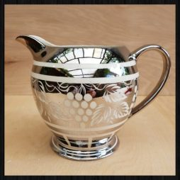 Vintage silver and white lustreware jug for sale at Charis White interiors online shop