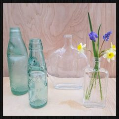 Set of 4 vintage bottles for sale at Charis White interiors online shop