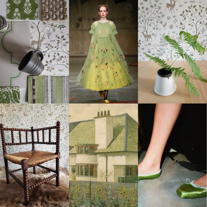 Collage including Molly Goddard dress and green satin ballet shoes for Charis White Arts and Crafts fashion and interiors blog