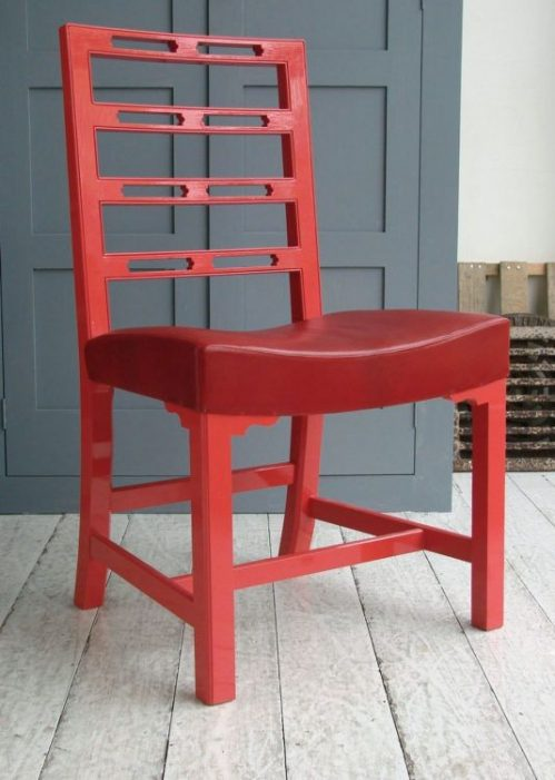 Red Ladderback chair Made by Howe on Charis White Interiors blog