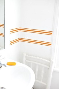 Orange striped wallpaper border by Jane Cumberbatch/Charis White Interiors blog