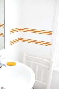 Orange striped wallpaper border by Jane Cumberbatch/Charis White Interiors blog