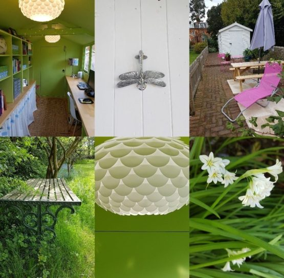 Collage of images of Shed Home office/Charis White Interiors blog