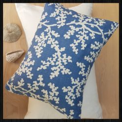 Blue and White coral print cushion on Charis White Interiors online Shop