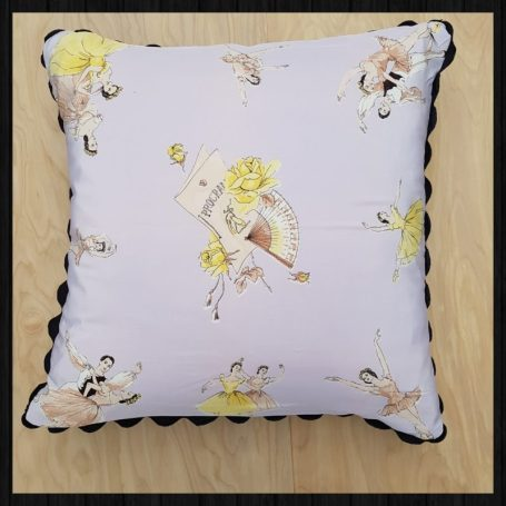 1950s silk scarf ballet cushion in Charis White Interiors shop