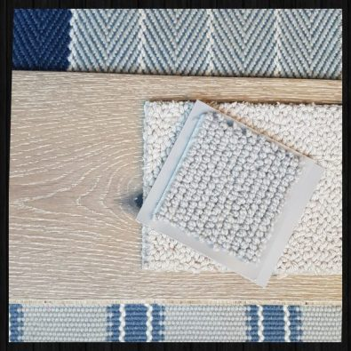 Carpet and stair samples from a Charis White Interiors Styling Box