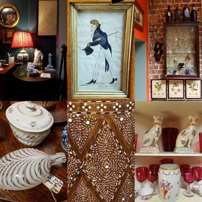 Affordable Antique chic/Fisher London blog at Charis White Interiors collage