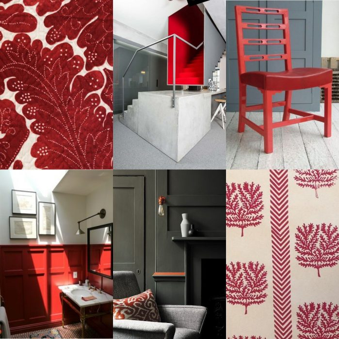 Collage with Nantes by Lewis & Wood, Staircase by Decor Facil, Red leather chair by Howe, pannelled bathroom by Sarah Story via New York Social Diary, Little Greene paint, Dani Park wallpaper by Lindsay Alker Studio on Charis White Interiors blog/Red
