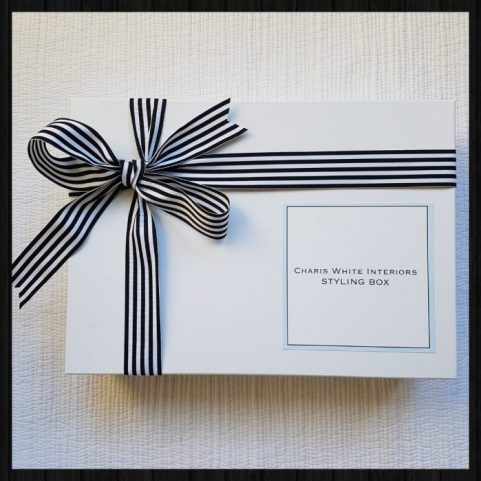 Charis White Interiors Styling Box with black and white striped ribbon