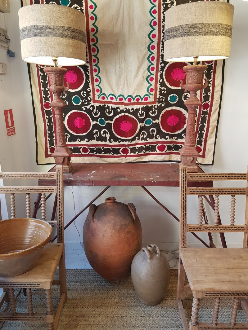 Spanish bobbin style chairs and console table at Los Modernos on Charis White Interiors blog