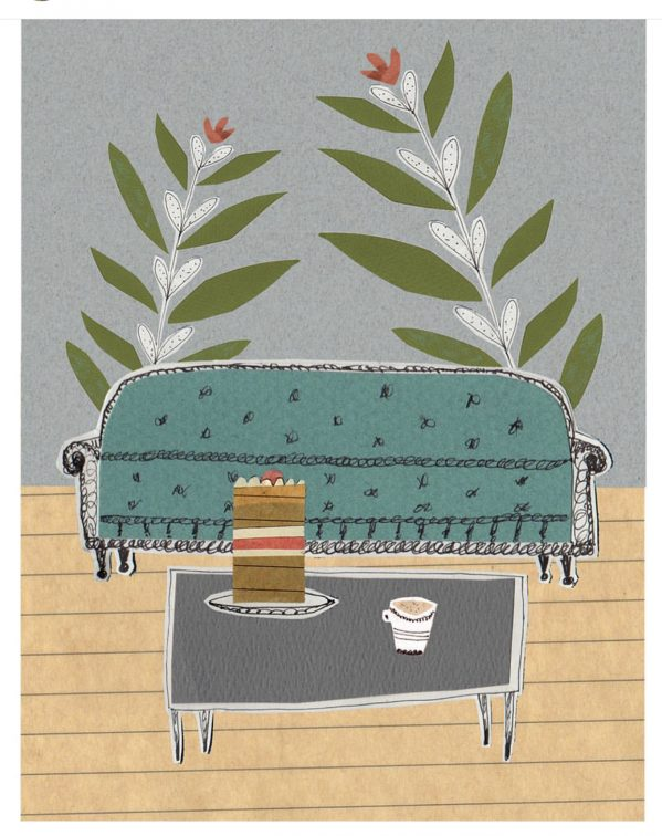 Lilly Rossiter's couch collage on Charis White Interiors blog