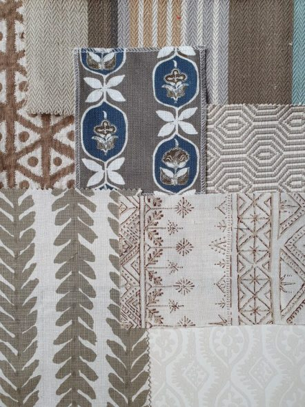 Brown fabrics moodboard 2 on Charis White Interiors blog