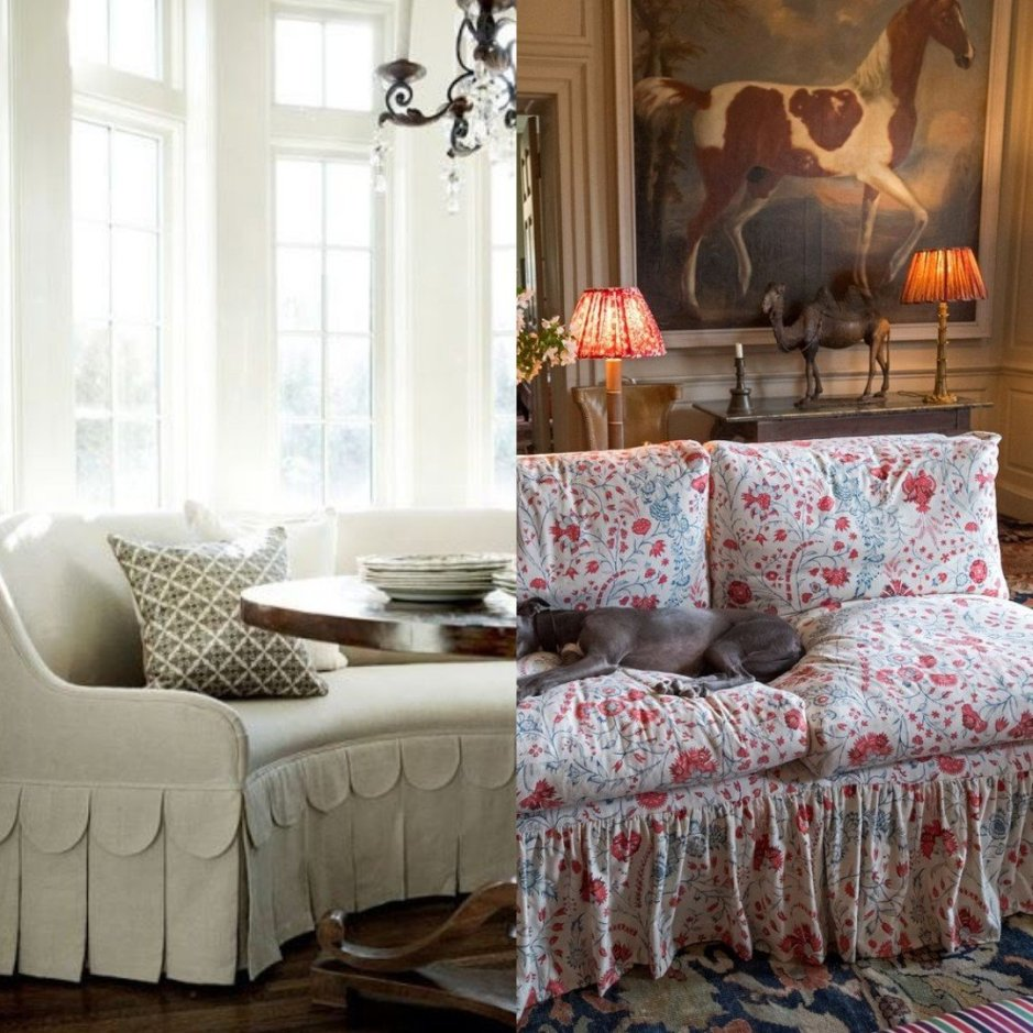 Collage picture Left: sofa: Workbookbywestbrook.com; Right picture: Frilled sofa, Soane.co.uk on Charis White Interiors blog
