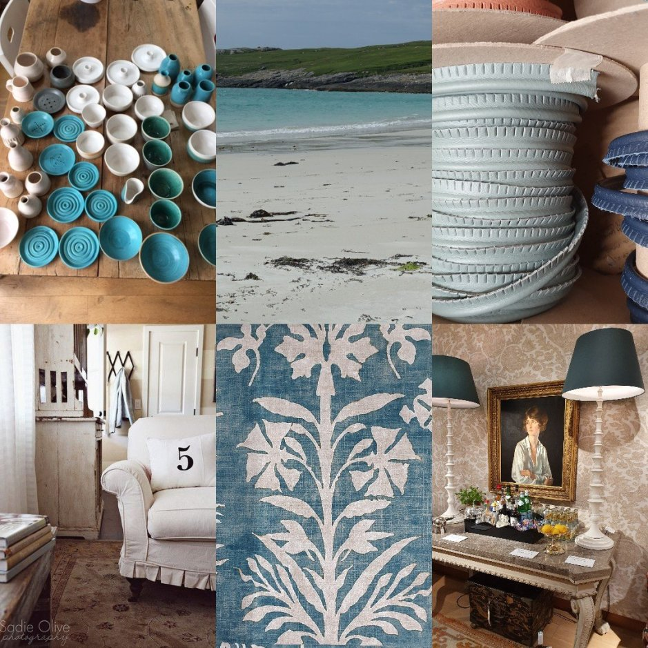 Collage for Sustainable Interior Decorating blog post by Charis White Interiors with image from Sadie Olive of white slipcover on sofa and image of North Uist by Hamish Adam.