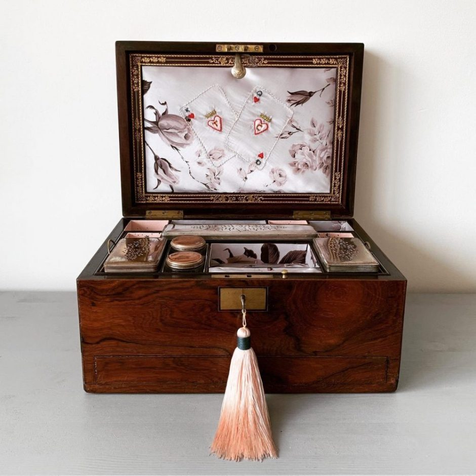 Silk embroidered bespoke jewellery box by Woodbury and Co on Charis White Interiors blog