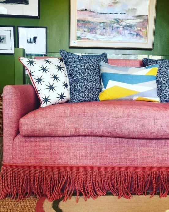 Salvesen Graham Red sofa with Bullion Fringe on Charis White Interiors blog
