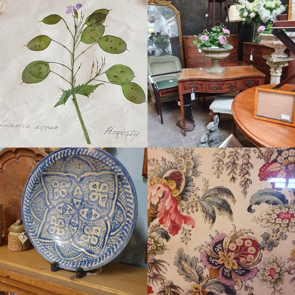Fanny's Antiques collage on Charis White Interiors blog