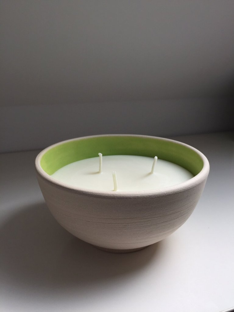 Handthrown candle pot by Fiona Adam Ceramics on Charis White Interiors blog
