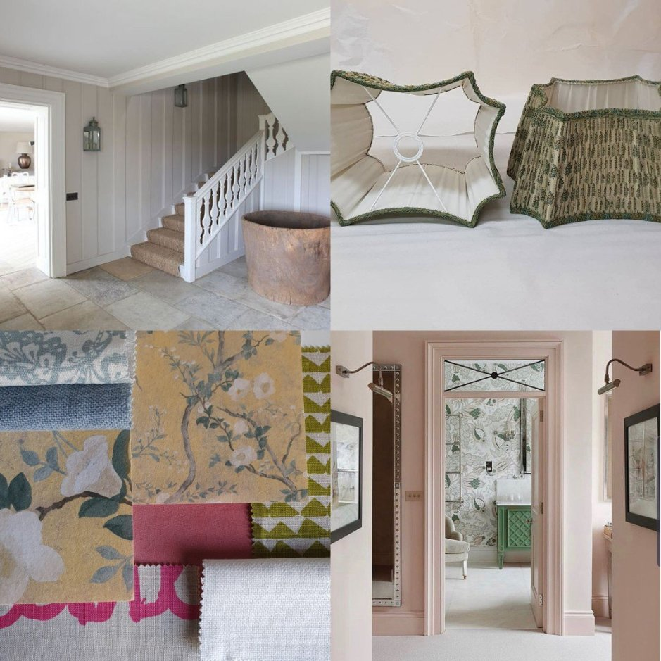 Collage for Charis White Interiors blog including image from Light Locations, Paralumi Luigi, Ham Interiors and Christopher Farr Cloth