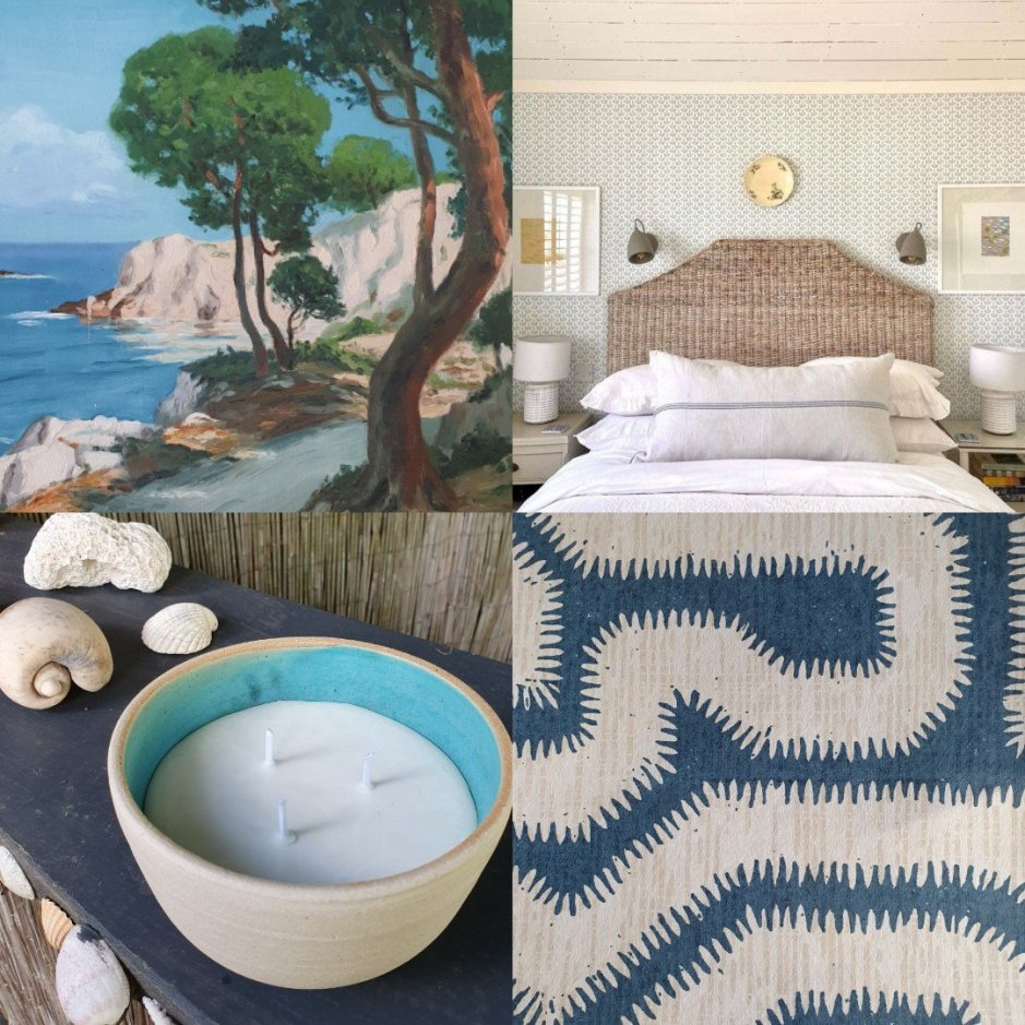 Collage by Charis White Interiors including Rapture and Wright wallpaper and bedroom with wallpaper by Mimi Pickard Textiles